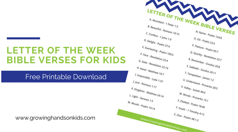 Letter of the Week Bible Verses for Kids, free printable download.