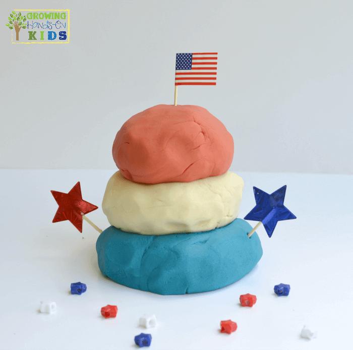 Red, white and blue homemade play dough, patriotic no-cook play dough recipe.