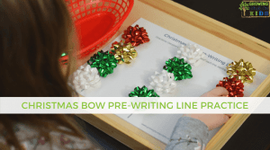 Christmas bow pre-writing line practice for kids. Includes a free printable.