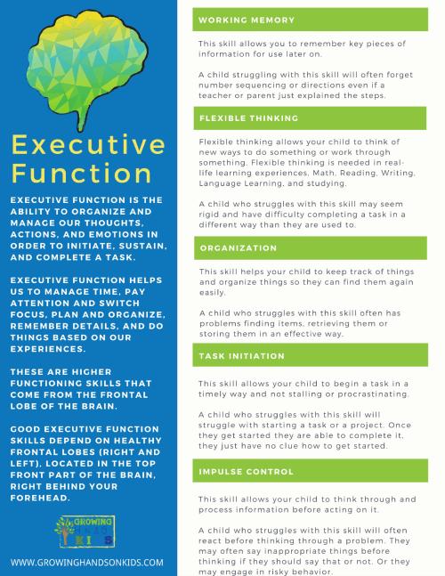 Free printable on executive functioning skills.