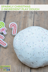 Sparkly Christmas 2-Ingredient Play Dough Recipe for sensory play.