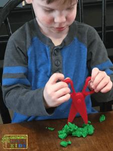 scissor skill development, 2 years old.