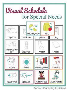 Visual schedule for special needs.