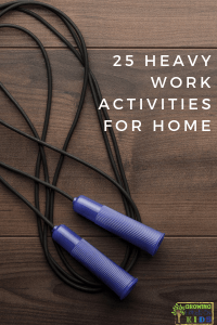 25 Heavy Work Activities for Home. Proprioceptive input for sensory processing.