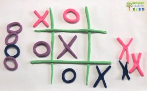 Play dough tic-tac-toe game. Pre-writing activity for kids.