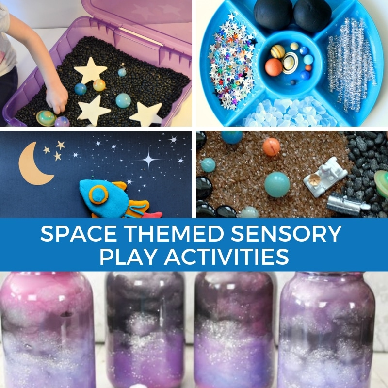 Collage of space themed sensory play activities for kids.