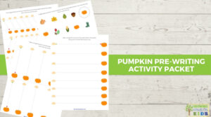 white word background with pumpkin-themed pre-writing line activity packet graphics on top.