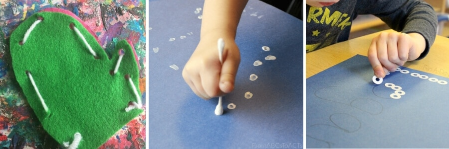 collage of winter fine motor activities for kids