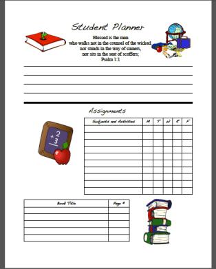 Student Planner Form