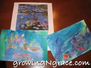 Watercolor water lilies, Monet art study