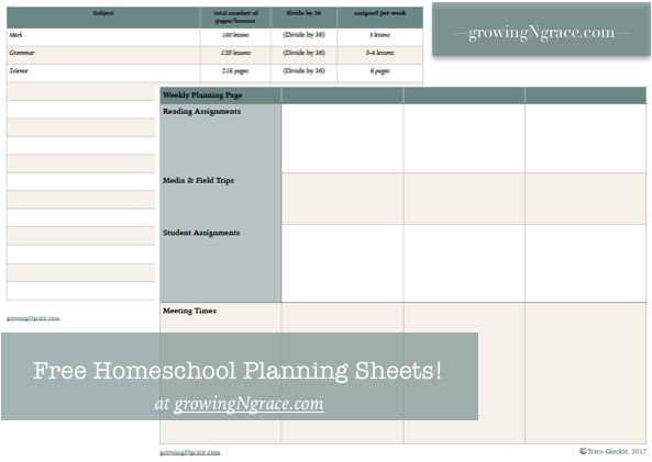 Free Homeschool Planner pages | free download | free homeschool printable | weekly planning pages