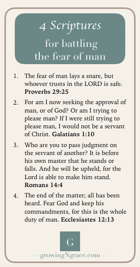 free printable download, Scriptures for battling fear of man, need for approval