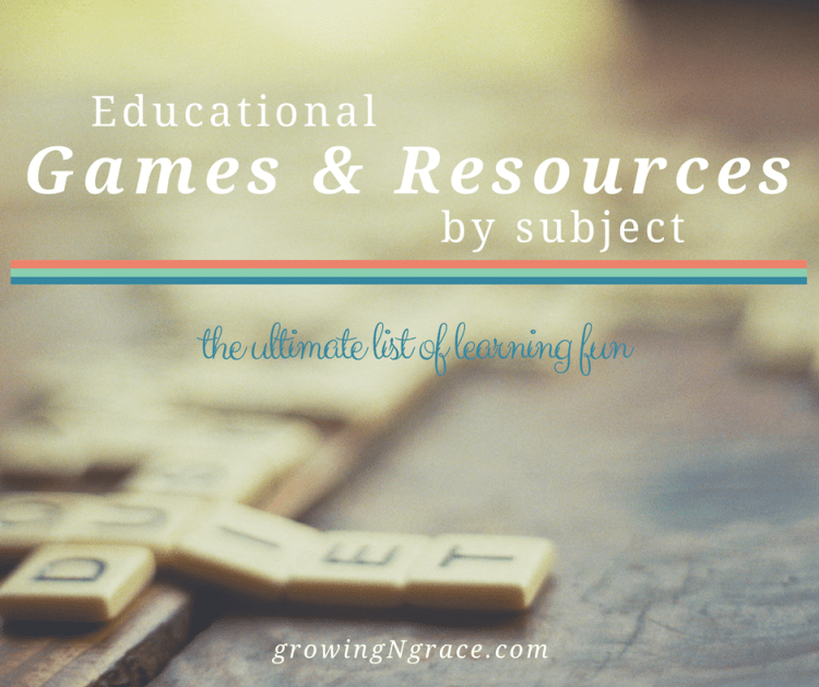 educational games by subject | learning fun | gameschooling