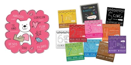 Valentine's cards and numbers and colors flash cards from Bebe Bilingual.