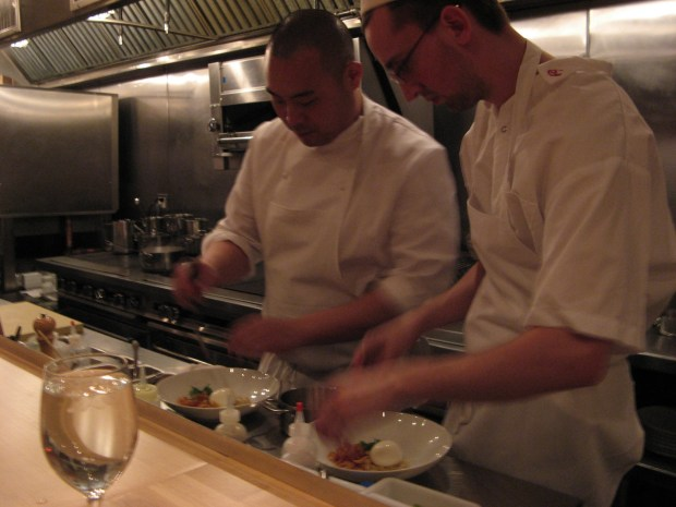 chefs cooks staff preparing food at Momofuku ko in Manhattan NYC