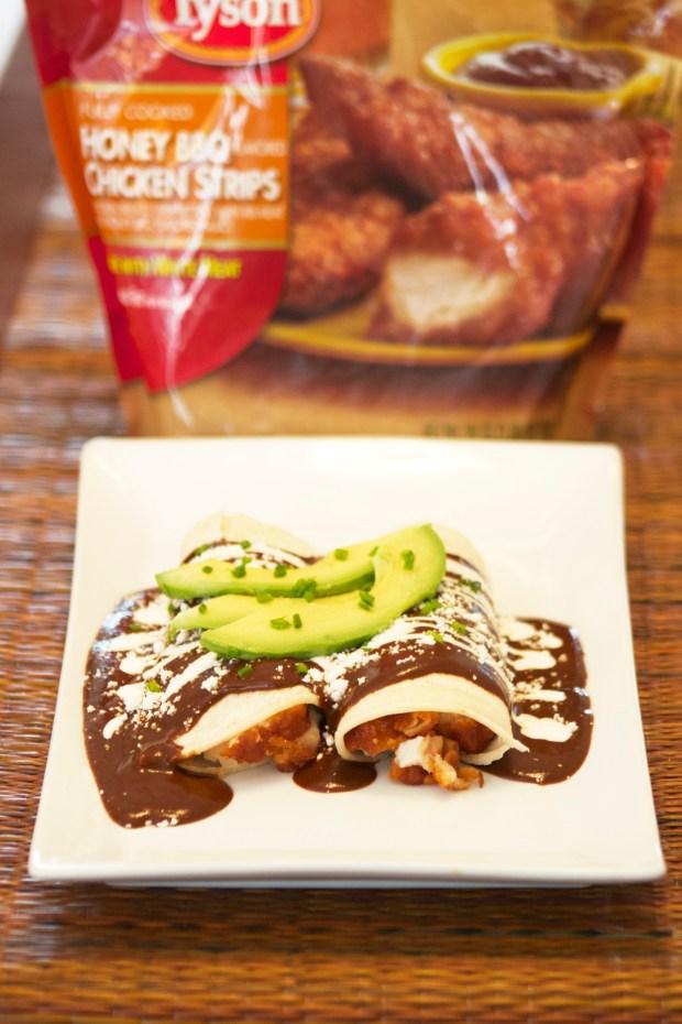 BBQ Mole Enchiladas made with Tyson Honey BBQ Chicken Strips.