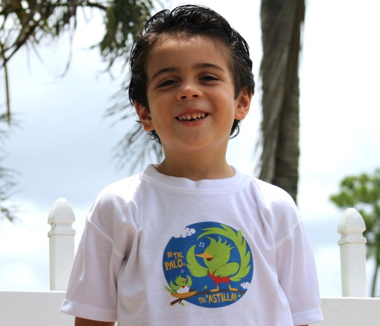 "My little man wearing a T-shirt with Quetzal, our national bird and with one of my favorite dichos: ""De tal palo, tal astilla""."