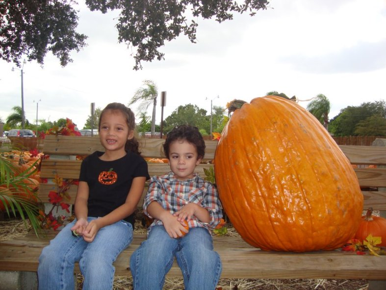 kids with pumpkins