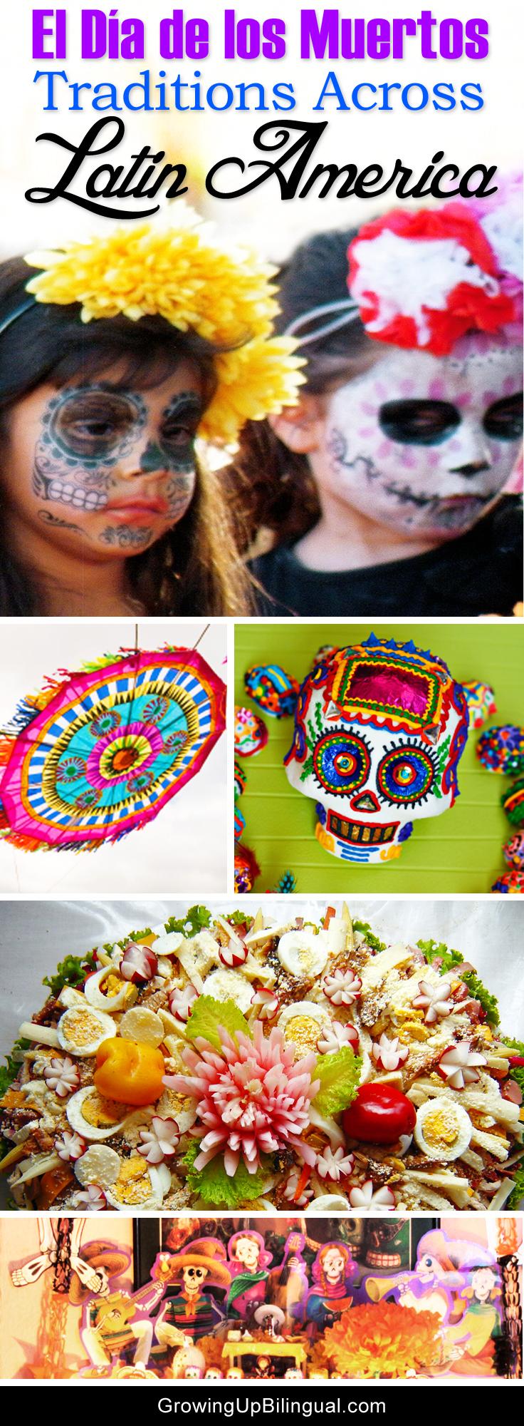 Dia de los Muertos traditions in Latin America collage