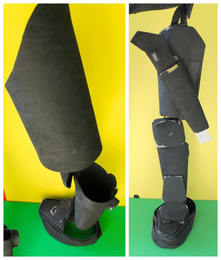 no sew DIY robot costume Japanese mech leg details