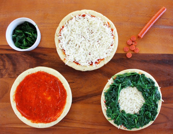 wreath holiday pizza ingredients