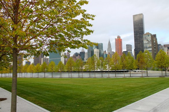 View of the Manhattan skyline from the Four Freedoms memorial park.