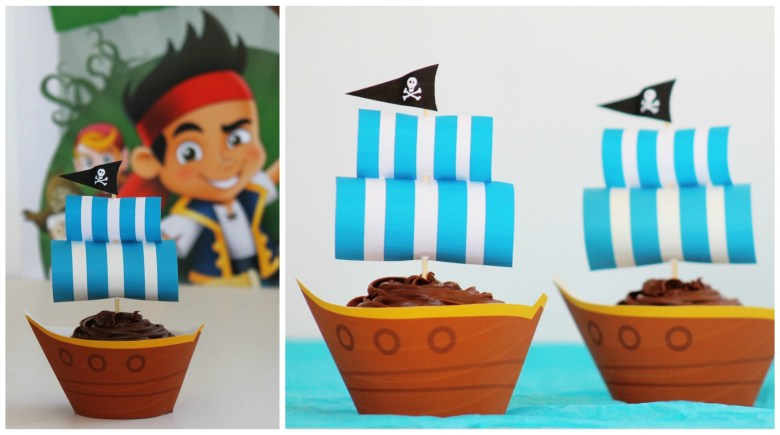 Jake and the Neverland Pirates pirate ship cupcakes for pirate party
