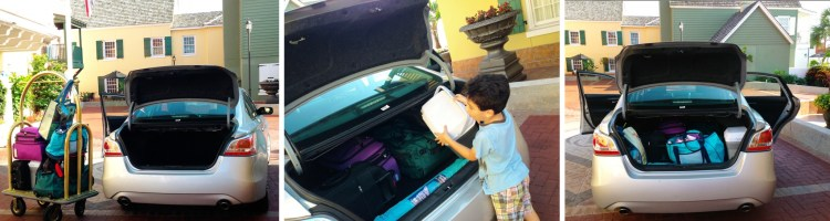 packing luggage in trunk Nissan Altima