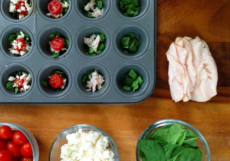 Spinach, tomato, turkey and queso fresco mini quiches