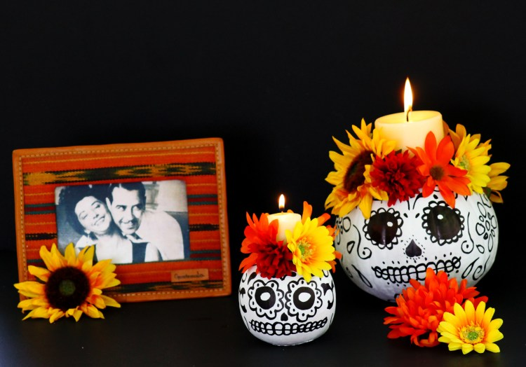 Day of the Dead DIY calavera pumpkin candle decor