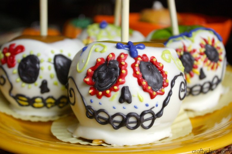 Sugar Skull Candied Apples for Day oft the Dead