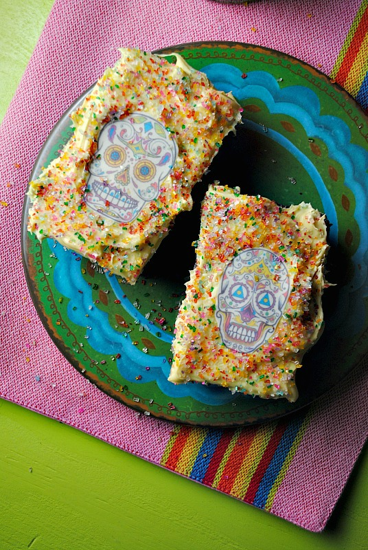 Day of the Dead chocolate brownies for Dia de los Muertos