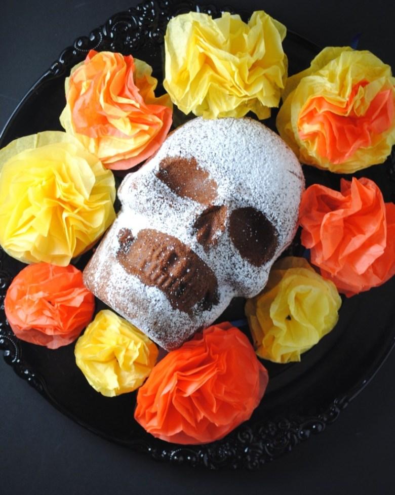 Dia de los Muertos Skull Chocolate Cake