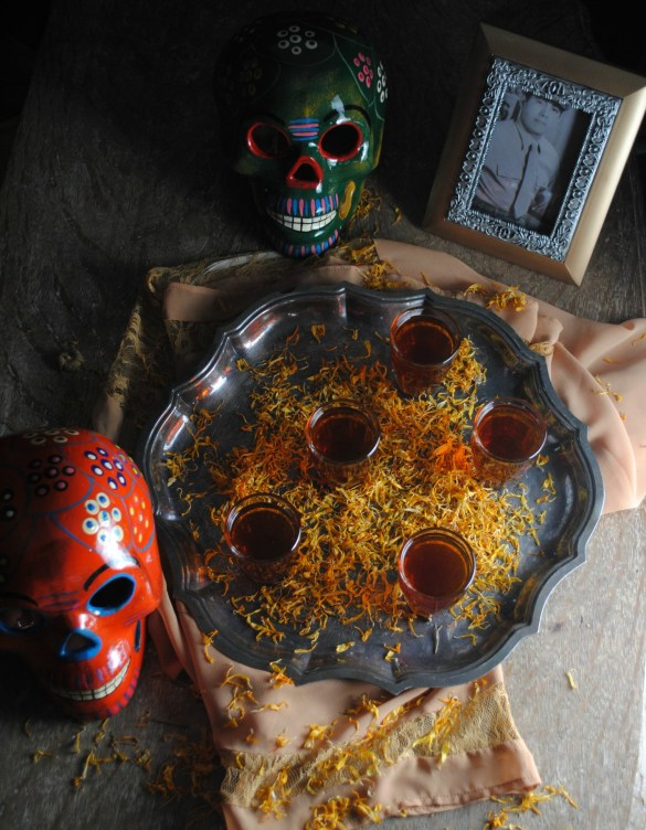 Marigold infused tequila for Day of the Dead
