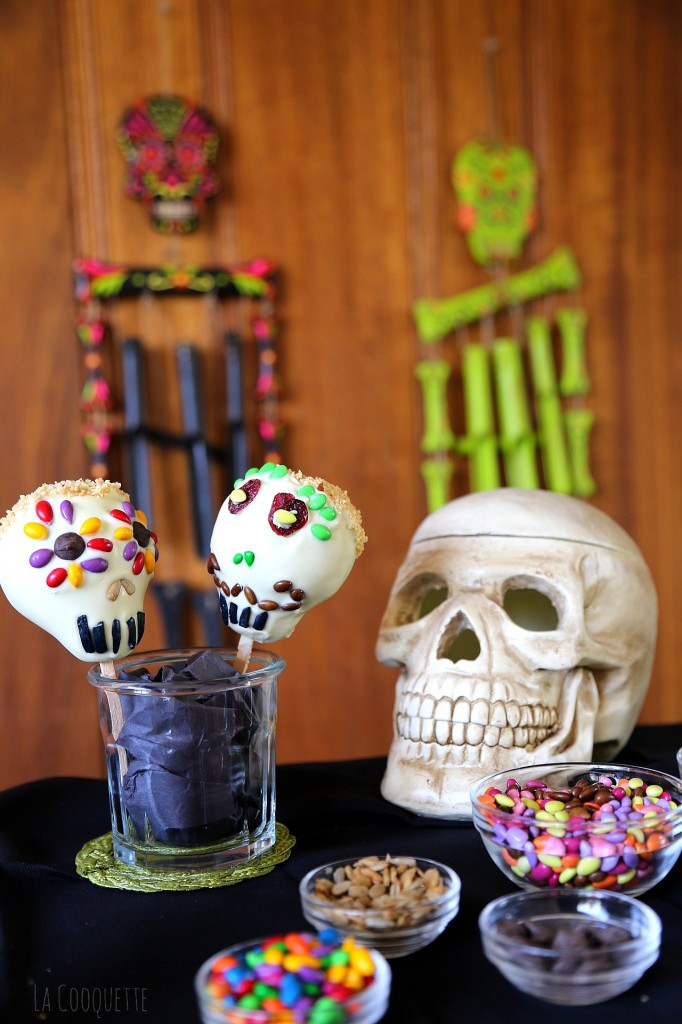 Dia de los Muertos white chocolate covered pears
