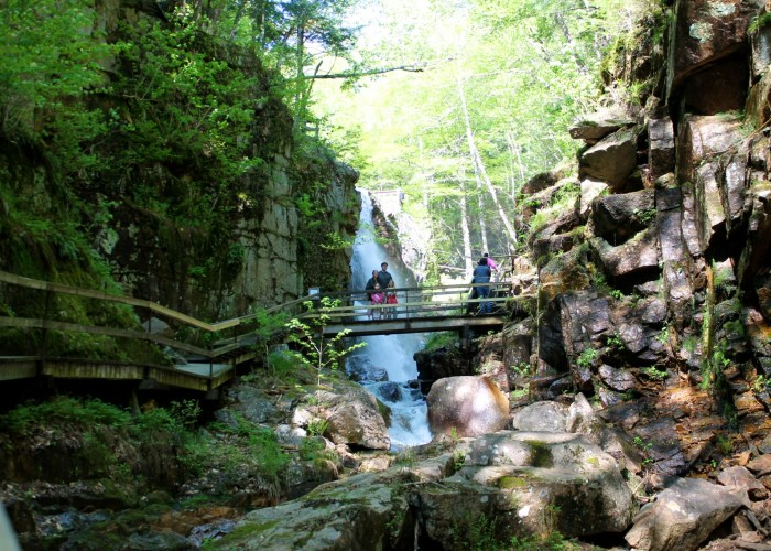 Flume Gorge en El Parque Estatal Franconia Notch en New Hampshire
