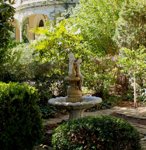 beautiful fountain and gardens in King William Historic District