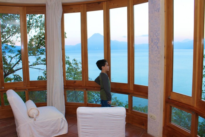 View from master bedroom at Villas B'alam Ya in lake Atitlan Guatemala