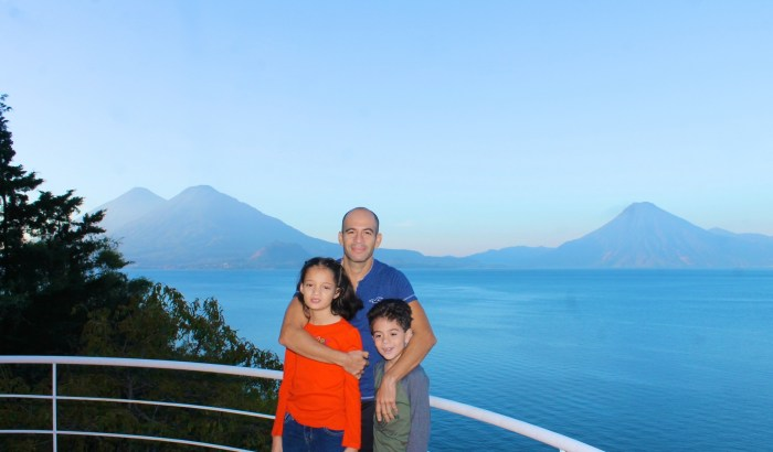 Enjoying the view of the lake from the second level terrace at Villas Balam Ya, Atitlan Guatemala