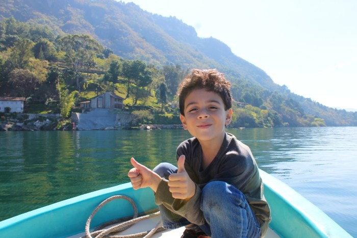 My little man is loving the the water taxi ride to San Antonio Palopo.