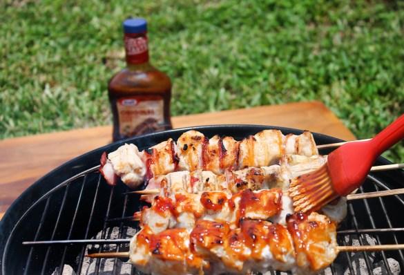 grilling BBQ chicken skewers