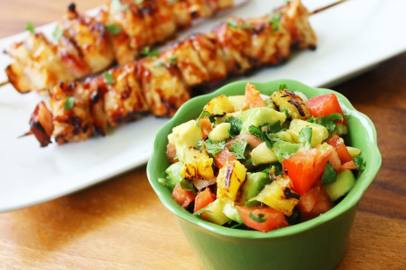 guava BBQ chicken skewers with pineapple avocado salsa