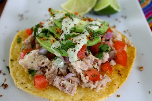 tuna tostadas with cilantro crema