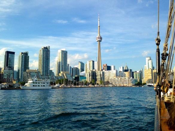 Toronto skyline from the tall ship Kajama