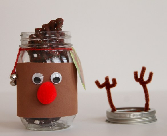 Reindeer Mason Jars These reindeer mason jars are super easy to make, here is what you need: Materials 2 brown foam sheets 6 16 oz mason jars 6 brown chenille stems or pipe cleaners red pom poms Google eyes (I like the self stick ones which are great for doing crafts with the kids) Glue gun and glue sticks Small jingle bells Twine or jute Holiday tags (we got these cute reindeer ones at Target)