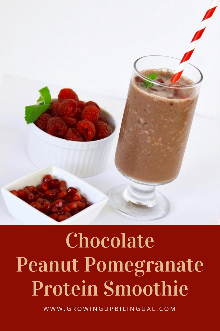 Chocolate Peanut Pomegranate Protein Smoothie