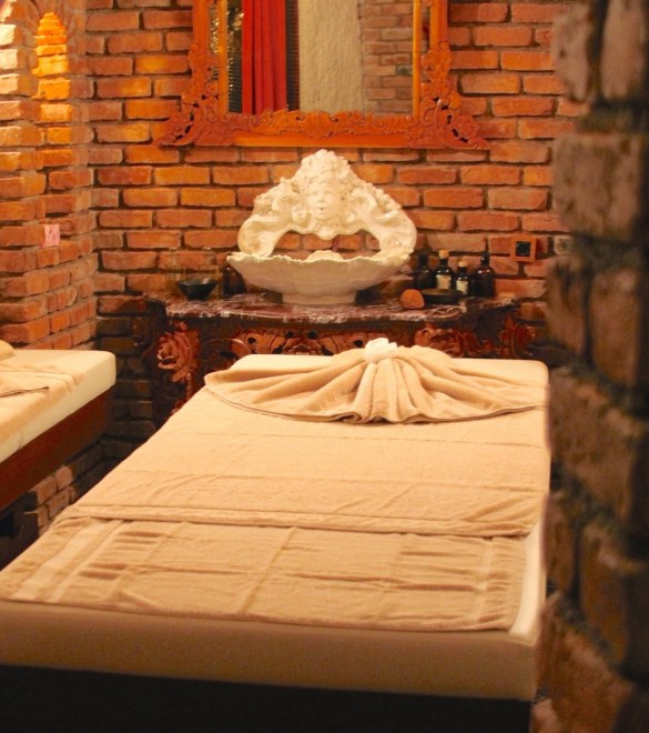 Massage room at the Sacred House's Inferno spa