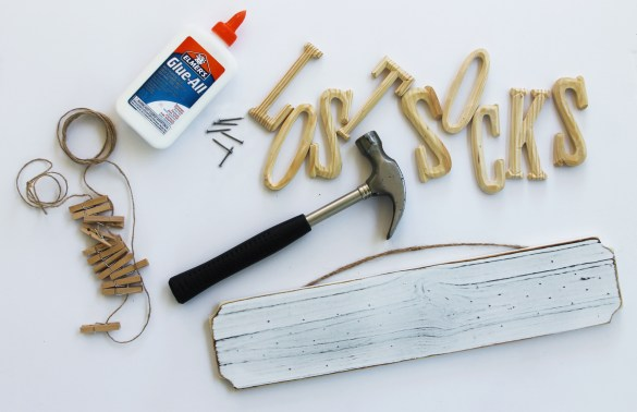 materials for DIY lost sock sign
