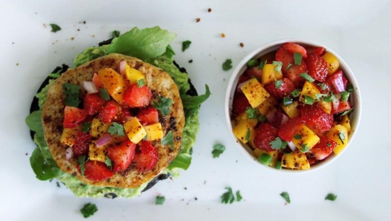 Portobello fish burger with avocado and strawberry mango salsa