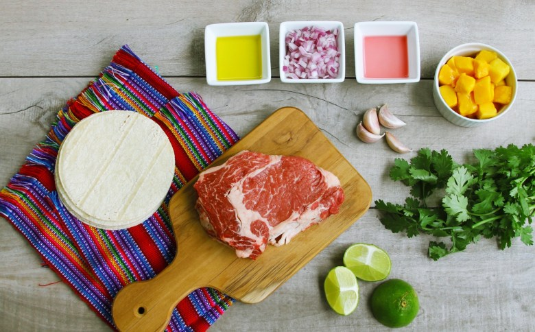 chipotle carne asada tacos with mango chimichurri ingredients